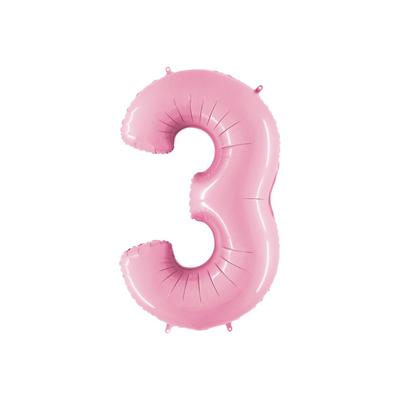 Розовая цифра 3 шарик с гелием