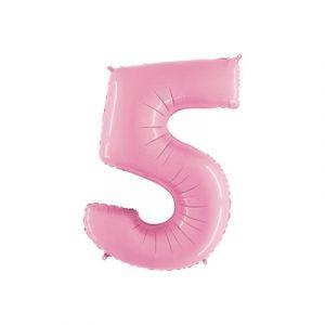 Розовая цифра 5 шарик с гелием