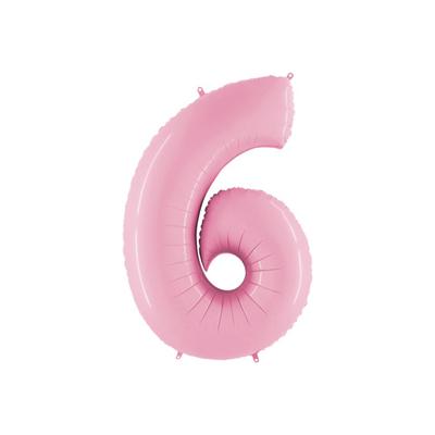 Розовая цифра 6 шарик с гелием