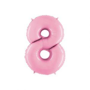 Розовая цифра 8 шарик с гелием