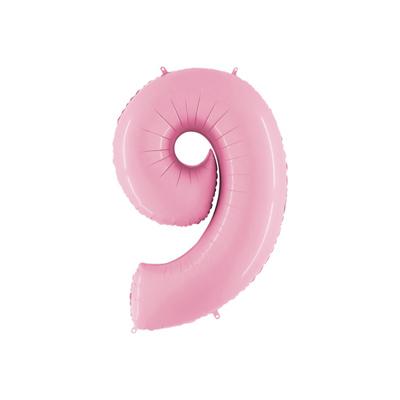 Розовая цифра 9 шарик с гелием