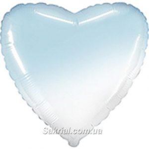 Шарик сердце омбре бело-голубое