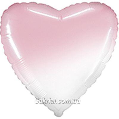 Шарик сердце омбре бело-розовое