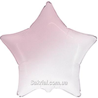 Шарик звезда омбре бело-розовая