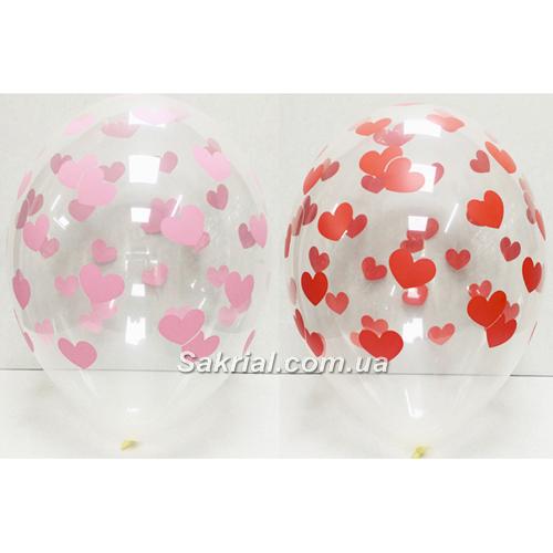 Прозрачный шар с роз и красн сердцами