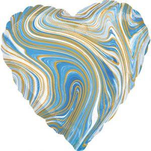 Шарик Сердце Агат Голубой