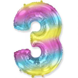 Шарик Цифра «3» градиент радуга заказать