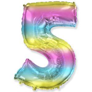 Цифра «5» градиент радуга