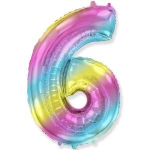Шарик Цифра «6» градиент радуга