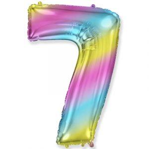 Шарик Цифра «7» градиент радуга