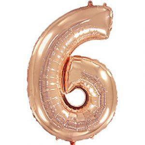 Шарик фольгированная цифра 6 розовое золото купить на Оболони
