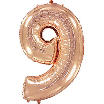 Шарик фольгированная цифра 9 розовое золото купить в Киеве