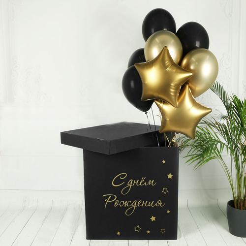 Черная Коробка сюрприз с шарами для любимого купить в Киеве