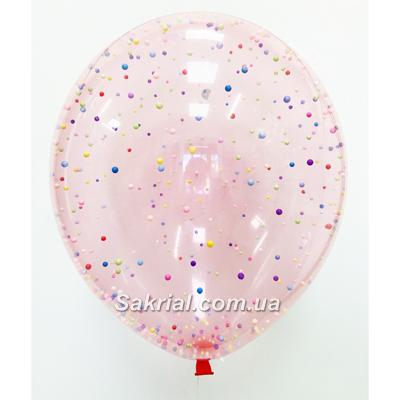 Шар с конфетти розовый (яркий микс) купить в Киеве