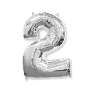 Цифра «2» серебро (надувается воздухом)