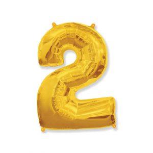 Цифра «2» золото (надувается воздухом)