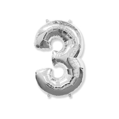 Цифра «3» серебро (надувается воздухом)
