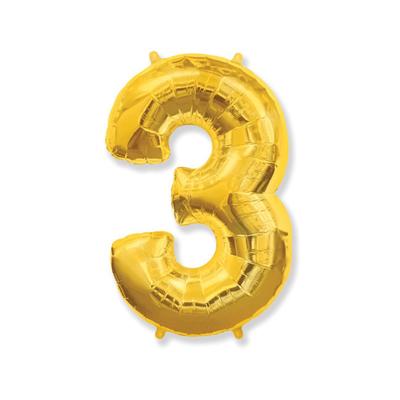 Цифра «3» золото (надувается воздухом)