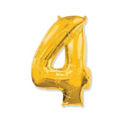 Цифра «4» золото (надувается воздухом)