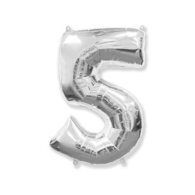 Цифра «5» серебро (надувается воздухом)