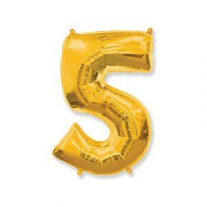 Цифра «5» золото (надувается воздухом)