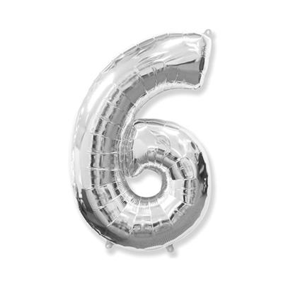 Цифра «6» серебро (надувается воздухом)
