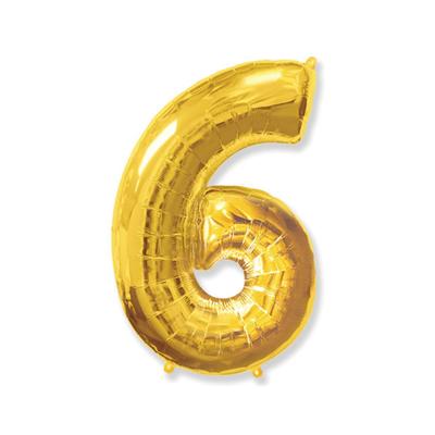 Цифра «6» золото (надувается воздухом)