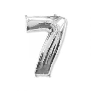 Цифра «7» серебро (надувается воздухом)