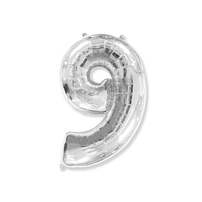 Цифра «9» серебро (надувается воздухом)
