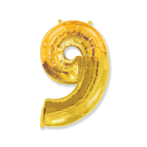 Цифра «9» золото (надувается воздухом)