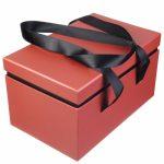 Подарочная коробка с атласными ручками коралловая купить в Киеве