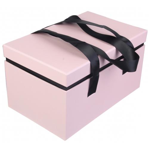 Подарочная коробка с атласными ручками розовая купить в Киеве