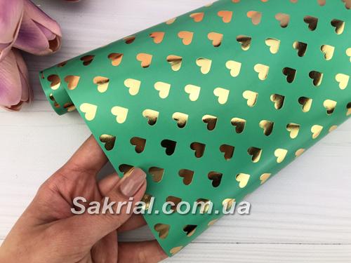 Упаковочная бумага (Золотые сердца на зеленом)