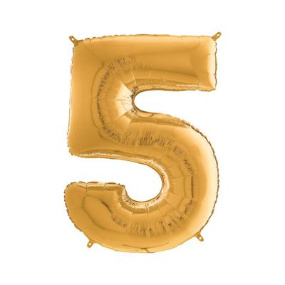 Цифра 5 золото шарик