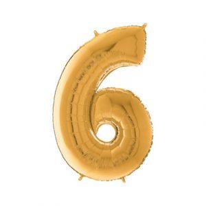 Цифра 6 золото шарик