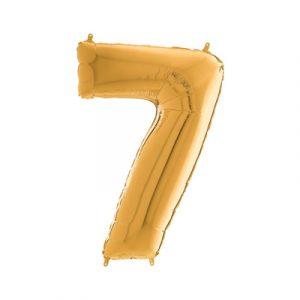 Цифра 7 золото шарик