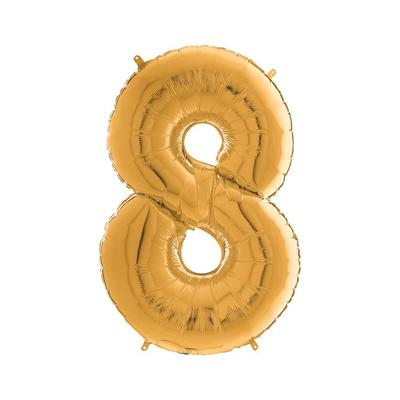 Цифра 8 золото шарик