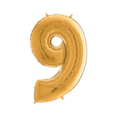 Цифра 9 золото шарик