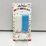 """Свечи для торта """"Бело - голубые с подставками"""""""