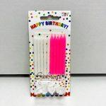 """Свечи для торта """"Бело - розовые с подставками"""""""
