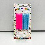 """Свечи для торта """"Розово - голубые с подставками"""""""
