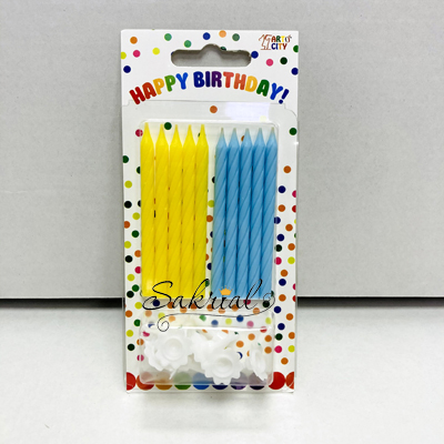 """Свечи для торта """"Желто - голубые с подставками"""""""