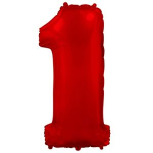 Фольгированная цифра «1» красная