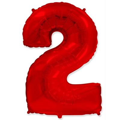 Фольгированная цифра «2» красная шарик