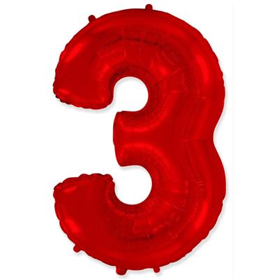 Фольгированная цифра «3» красная шарик