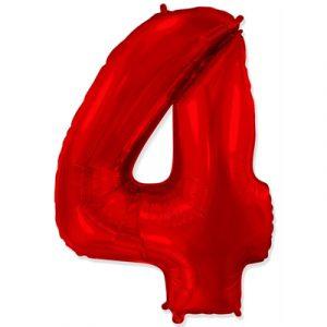 Фольгированная цифра «4» красная шарик