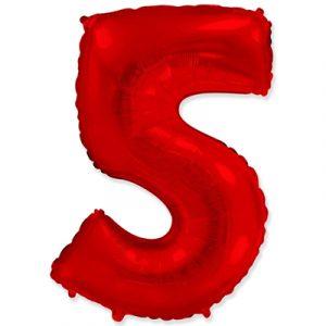 Фольгированная цифра «5» красная шарик