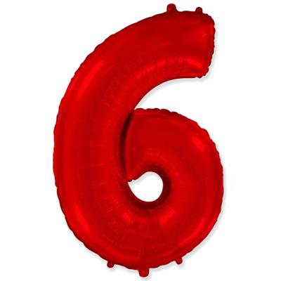 Фольгированная цифра «6» красная шарик