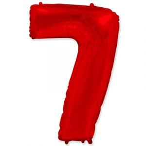 Фольгированная цифра «7» красная шарик