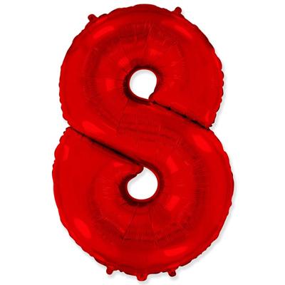 Фольгированная цифра «8» красная шарик